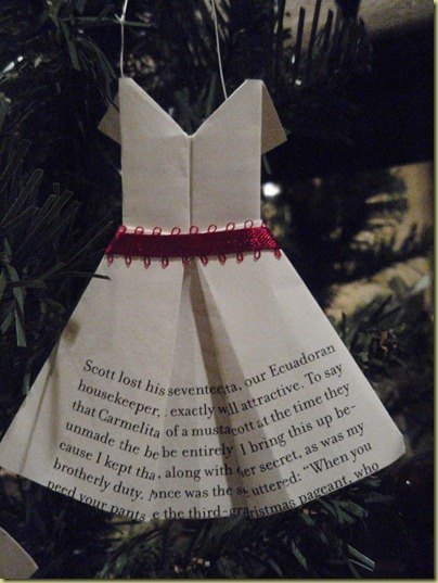 a tiny dress Christmas ornament made out of a book page