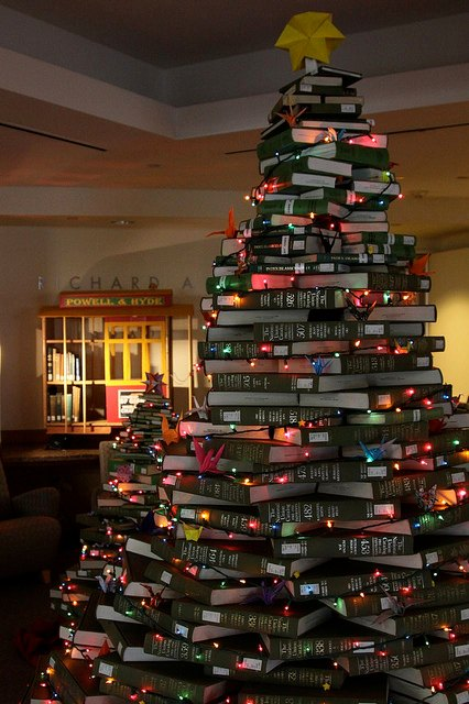 a Christmas tree made out of books